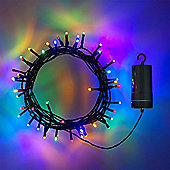 100 Multi Coloured LED Outdoor Battery Fairy Lights on Green Cable