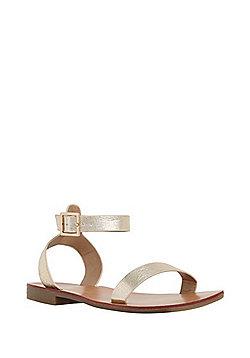 F&F Metallic Ankle Strap Sandals - Gold