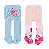 Baby Annabell Tights 2 Pack - Floral Roses & Peach Colour Design
