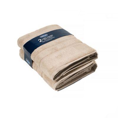 Silentnight 100% Cotton 525gsm 2 Piece Bath Towel Set - Stone