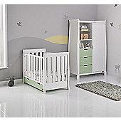 Obaby Stamford Mini Cot Bed/Wardrobe 2 Piece Nursery Room Set - White with Pistachio