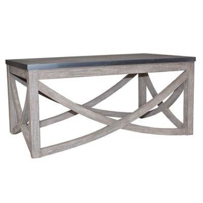 Distressed Rock & Brushed Mango Wood Coffee Table