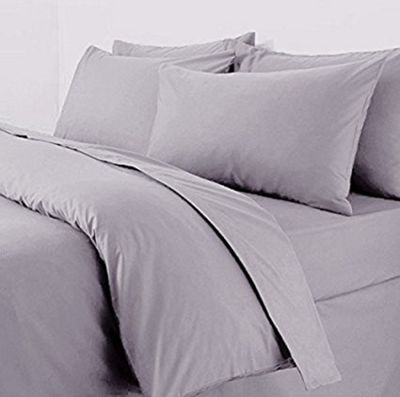 Polycotton Percale Duvet Cover Set Grey - King Size
