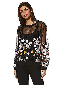 Izabel London Sheer Mesh Embroidered Sweatshirt - Black