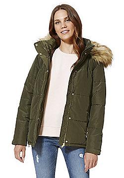 F&F Faux Fur Trim Shower Resistant Padded Jacket - Khaki