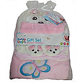 Pink Puppy Baby Gift Set Hat Booties 2 blankets