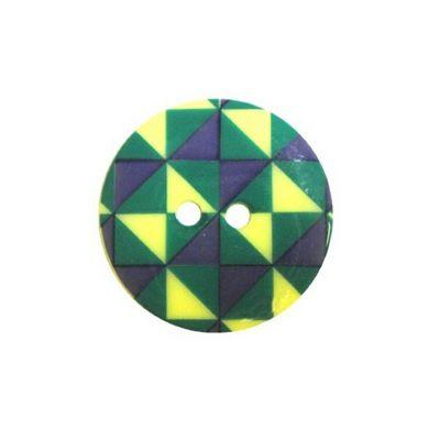 Hemline Blue, Green & Yellow Geometric Fancy Buttons 22.5mm 2pk