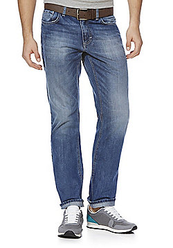 F&F Straight Leg Jeans with Belt - Mid wash