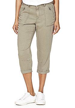 F&F Tencel® Blend Cropped Trousers - Khaki