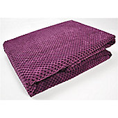 Mason Grey Chenille Spot Aubergine Throw - 180x125cm