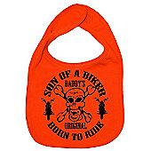 Dirty Fingers Son of a Biker Daddy's Original Born to Ride Bib Orange