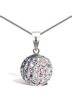 Sterling Silver Crystal Charm Pendant - 18 inch Chain