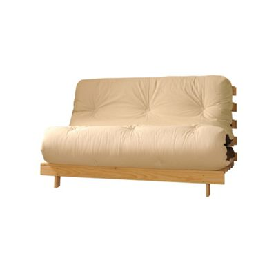 Comfy Living 4ft Small Double Futon Set incl. Mattress and Wooden Base in Cream