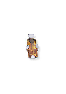 Jewelco London 18ct White Gold - Citrine - Rectangular Charm Pendant -