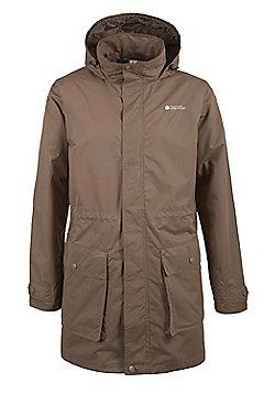 Mens Thunder Waterproof Lightweight Adjustable Waist Hooded Long Jacket Coat - Brown