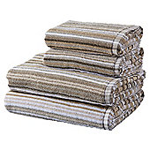 100% Cotton 2 Hand 2 Bath Towel Bale - Natural Stripe