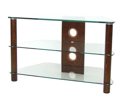3 Shelf TV stand with Clear glass and dark wood legs