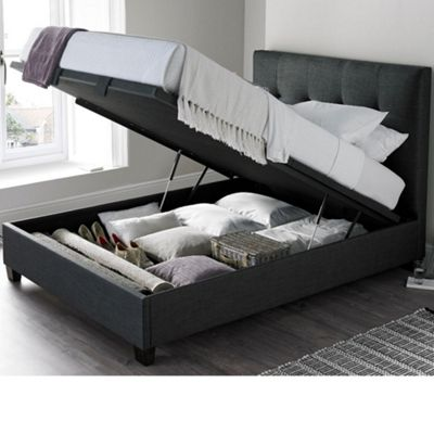 Happy Beds Walkworth Fabric Ottoman Storage Bed - Slate Grey - 6ft Super King