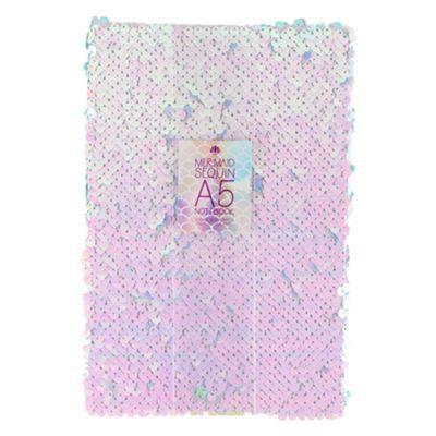 Mermaid Sequin A5 Notebook Hardback Pink Blue Reversible Design Stationary