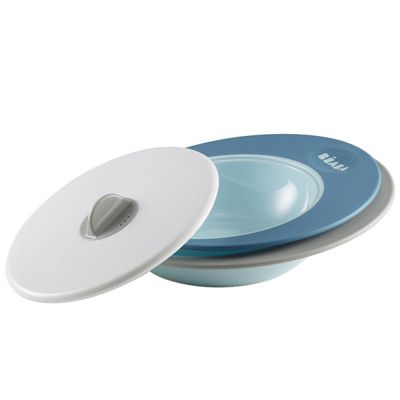 Beaba Ellipse Evolutive Plate with Steamer Cover Set - Blue