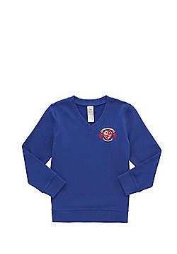 Unisex Embroidered Cotton Blend School V-Neck Sweatshirt with As New Technology - Bright royal blue