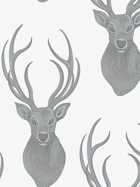 Rasch Stags Wallpaper Grey / Cream 273717