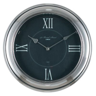 Silver & Black Metal & Glass Round Wall Clock