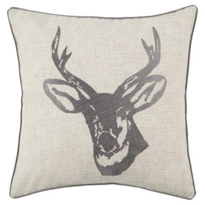 Stag Head Cushion Silver