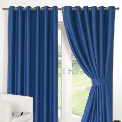 Dreamscene Pair Thermal Blackout Eyelet Curtains, Blue - 90