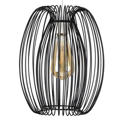 MiniSun Orbis 23cm Caged LED Ceiling Pendant Light Shade Edison Screw Fitting - Black