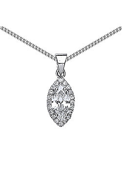 Rhodium Plated Sterling Silver Marquise Cubic Zirconia Halo Pendant Necklace 18 inch