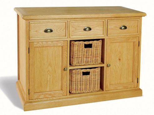 Ultimum Somerset Oak Sideboard 3 Drawers 2 Doors 2 Baskets
