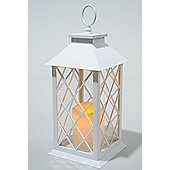 Kaemingk LED Plastic Lantern With Timer 14cm x 14cm x 35cm White