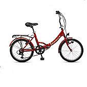 "Orbita Eurobici 6 Speed Folding Bike with 20"" Wheelsl (Red)"