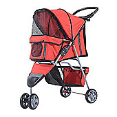 PawHut Pet Travel Stroller Cat Dog Pushchair Trolley Puppy Jogger Carrier Three Wheels (Red)