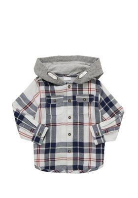 F&F Plaid Check Hooded Shirt Multi 5-6 years