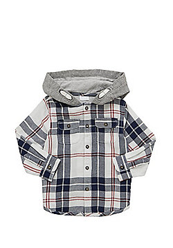 F&F Plaid Check Hooded Shirt - Multi