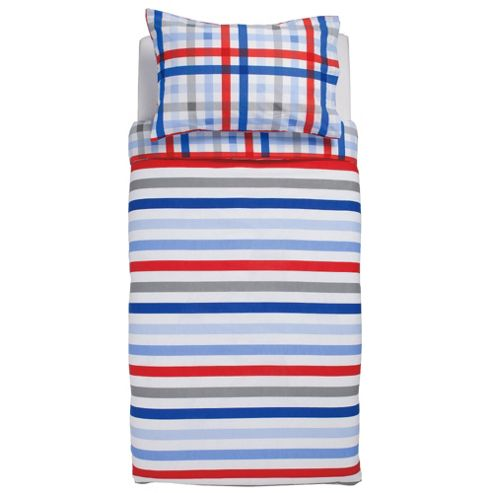 Tesco Kids Stripe & Check Reverse Duvet Cover Set Single