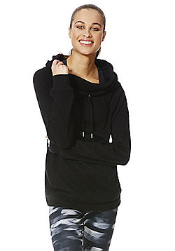 F&F Active Drawstring Funnel Neck Sweatshirt - Black