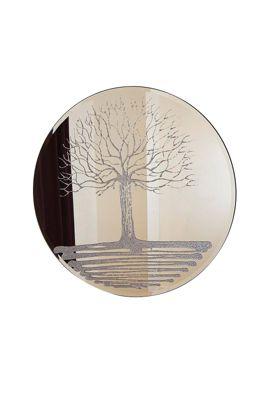 Large Frameless Round Wall Mirror Liquid Glass Glitter Tree Design 3Ft4 (100Cm)
