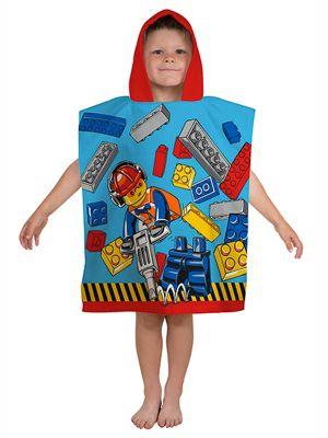 Lego City Construction Hooded Poncho Towel