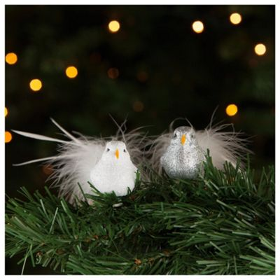 Tesco Silver White Glitter Birds Hanging Decoration 2 Pack
