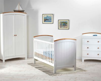 East Coast Coast 3 Piece Nursery Room Set With Pocket Sprung Mattress - Sailcloth/Ivory
