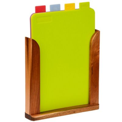 Tabs - Set Of 4 Colour Coded Chopping Boards In Wood Stand - Brown / Multicoloured