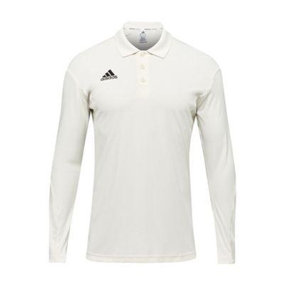adidas Howzat Long Sleeve Kids Cricket Whites Polo Shirt - 7-8 Years