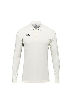 adidas Howzat Long Sleeve Kids Cricket Whites Polo Shirt Top Jersey White - White