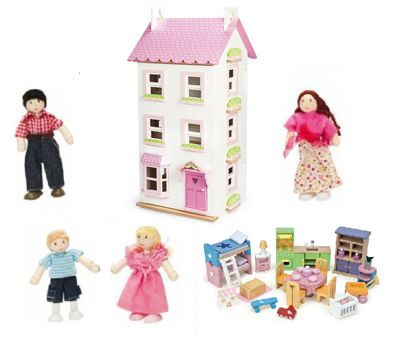 Le Toy Van Victoria Place with Starter Furniture Set and My Family of 4 Dolls