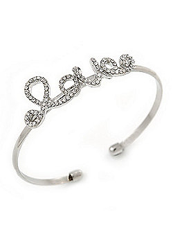 Delicate Clear Crystal 'Love' Cuff Bangle Bracelet In Silver Tone - 19cm Adjustable