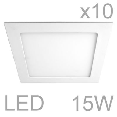 Pack of 10 MiniSun Celica Square 15W LED Downlight Panels, Warm White