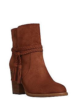 F&F Plaited Tassel Trim Western Ankle Boots - Tan
